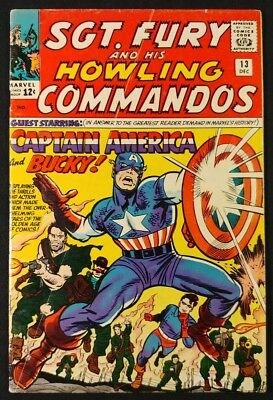 Sgt. Fury And His Howling Commandos #13 1st Nick Fury Meeting! VG (Marvel 1964)