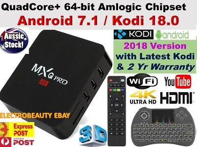*2018* MXQ PRO 4K QuadCore WiFi KODI 17.6 3D Smart TV Box Media Player Android 7