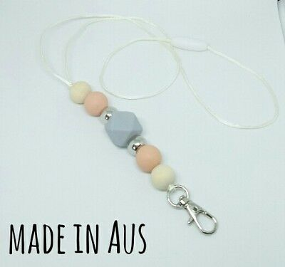 Silicone Beads Lanyard Keyring Chain Safety Clasp Holder ID Silver Peach Teacher