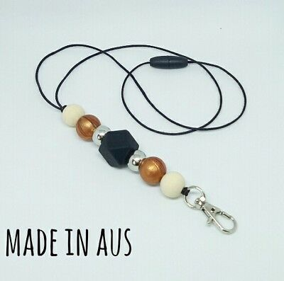 Silicone Beads Lanyard Keyring Chain Safety Clasp Holder ID Copper Black Teacher