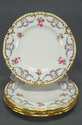 Set of 4 Minton Tiffany Pink Rose & Blue Floral Garlands & Gilt Luncheon Plates