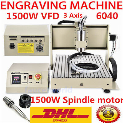 1500W Spindle Motor VFD 3 Axis CNC 6040 Router Engraver Engraving metal Machine