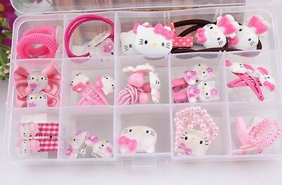 Hello Kitty Girls Pink Hair Band Clip Hair Accessories Set Brooch Ring Earrings