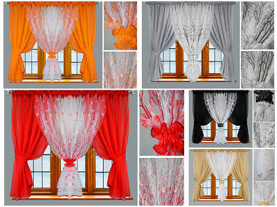 Amazing Voile Net Curtains Ready Made Modern Novelty Orange Pink White Black