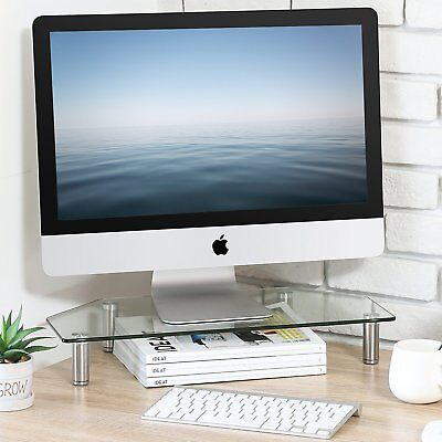 FITUEYES Glass Monitor Riser PC IMAC Laptop TV Stand Adjustable Leg 54*21CM