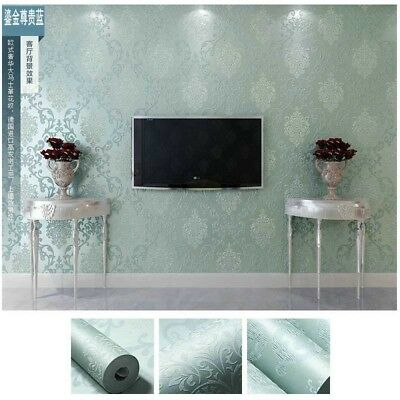 3D Flocking Embossed Self-adhesive PEEL AND STICK Wallpaper Damask Roll