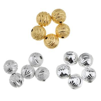 50pcs Vintage Flower Metal Copper Round Spacer Loose Beads 8mm for DIY Craft