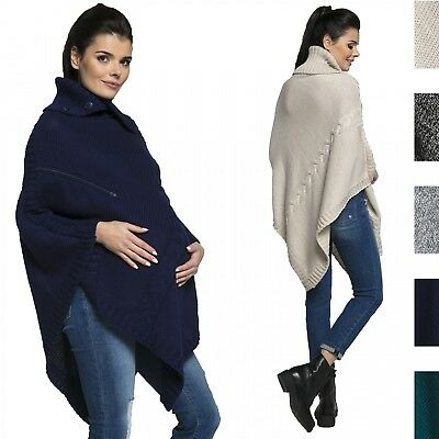 Happy Mama Women's Maternity Nursing Chunky Knit Poncho Sweater Jumper 492p