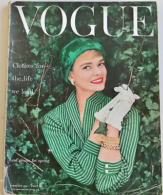 50s vintage Vogue fashion magazine Norman Parkinson Fornasetti February 1955