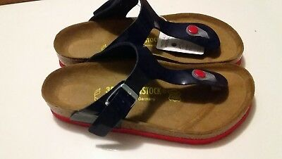 REDUCED - BIRKENSTOCK - GIZEH - NAVY w RED SOLES RRP $127