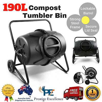 190L Compost Tumbler Bin Food Waste Composter Recycling w/ Lockable Barrel Black