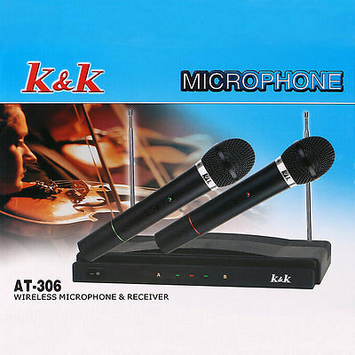 Professional Wireless Microphone System Dual Handheld 2 x Mic Receiver KU