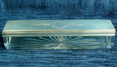A Fine Victorian Antique Silver & Glass Dressing Table Box London 1861