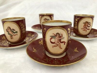 Four Antique  Eighteenth Century Austrian China Coffee Cans