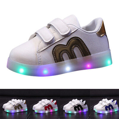 Cool Toddler Kids Skate Shoes Children Baby Shoes LED Light Up Luminous Sneakers