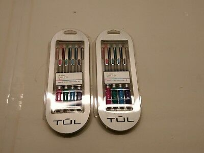 TUL Retractable Gel Pens, Needle Point, 0.7 mm, Assorted 4 Ink Colors 2 packs