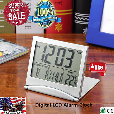 Large Digital LCD Folding Travel Alarm Clock with Thermometer Calendar Timer &@