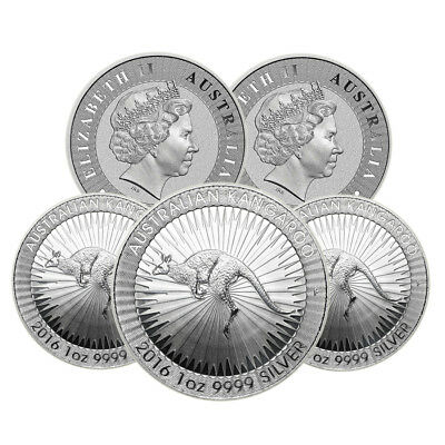 Lot of 5 - 2016 1 oz Australian Silver Kangaroo Perth Mint Coin .9999 Fine BU