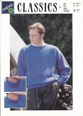 vintage knitting pattern aran mens 80's