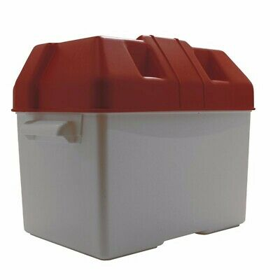 Small Red Battery Box With Strap For 75A & 85A Size - Caravan, Motor Home, Boat