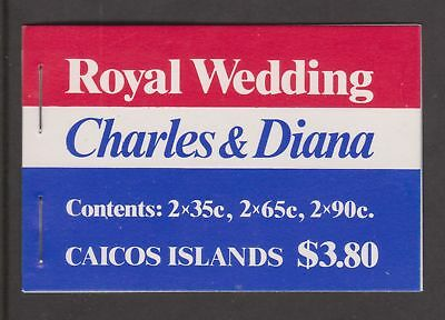 1981 Royal Wedding Charles & Diana MNH Caicos Islands Stamp Booklet Capitals Opt