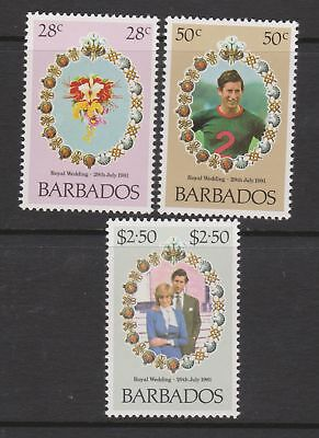 1981 Royal Wedding Charles & Diana MNH Stamps Stamp Set Barbados SG 674-676