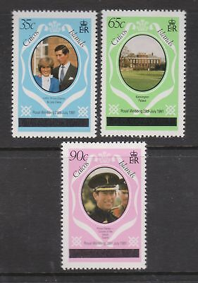 1981 Royal Wedding Charles & Diana MNH Caicos Stamp Set Opt in script SG 8A-10A
