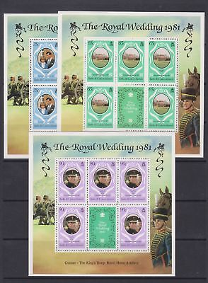 1981 Royal Wedding Charles & Diana MNH Stamp Sheetlets Turks & Caicos