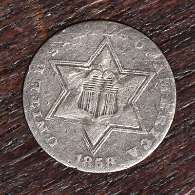 1858 Three Cent Silver 3CS - VG-F Details (#10373)