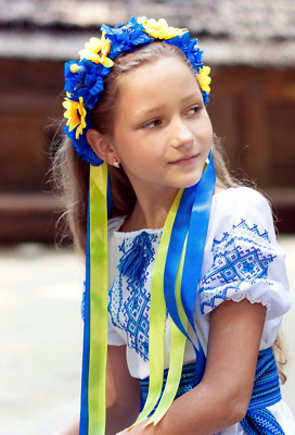 "Ukrainian Head band ""Wreath"" with ribbons.Girls' women's Blue and yellow"