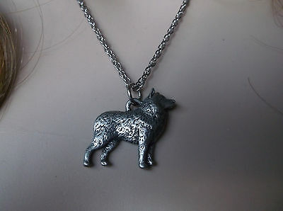 """Solid Pewter Schipperke Pendant W/18"""" Stainless Steel Chain Necklace"""