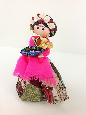 "Frida Kahlo Small Figure Cold Porcelain 8"" Handmade Mexican Doll Frida"