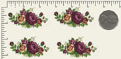 """4 x Waterslide ceramic decals  Red roses spray Flowers  2 1/2"""" x 1 1/2""""  PD980"""