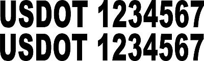 USDOT Numbers - (2 signs) 22.5 X 3 inch high vinyl letters - Various Colors