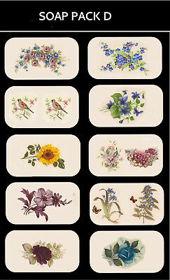 SOAP PACK 'D' Ceramic decals Decoupage Assorted designs to fit soaps Gift making