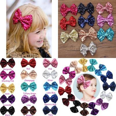 Baby Girls Hairpins Sparkly Glitter Hair Bows Ribbons Children Clip On 15 Pack