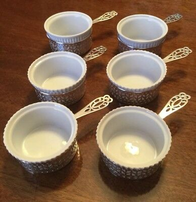 Set of 6 Antique Gorham Sterling Silver Ramekins with Porcelain Liners