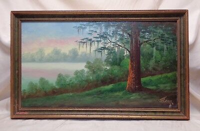 Josephine H Graham (1915-1999) Willow Tree by Lake Vintage Oil Painting on Board