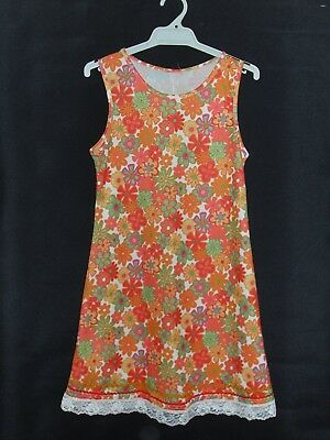 1970's Vintage Shift Style Dress in Bright Floral Print.