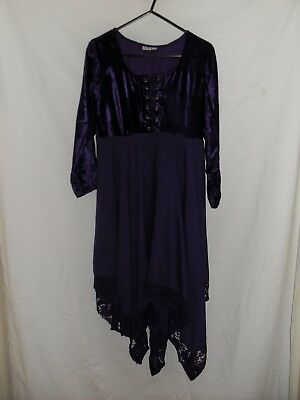 1990's Vintage Young Teen Long Sleeved Hippy Dress with Velvet Bodice.
