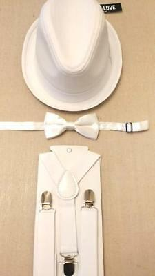 Choose Suspenders and A Bow Tie White Newsboy Cap Born to Love Baby Boy 4 Szs