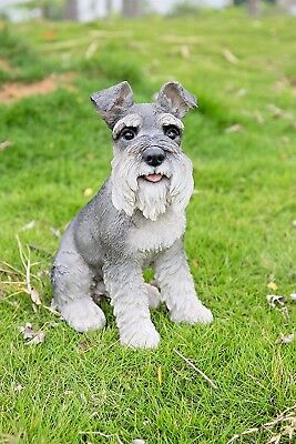 Schnauzer Grey Adult Dog Sitting Garden Statue Realistic Life Like Detail