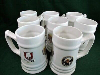 8 Spaten Munchen Ceramic Beer Bier Stiens  Price is for the Lot of Eight
