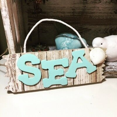 NEW SEA SIGN Rustic Wood Coastal Ocean Home Wedding Decor ONE OF A KIND HANDMADE