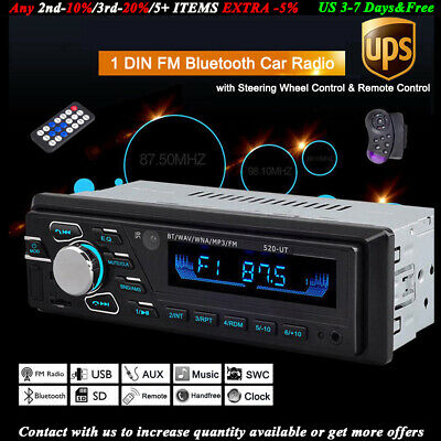 SD/USB/AUX/FM/MP3 Head Unit 12V Bluetooth Car Radio Stereo Remote Control 1 Din