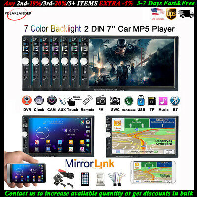 "7"" Touch Screen Stereo Car Radio AUX/USB/FM Head Unit Bluetooth 2 Din MP5 Player"