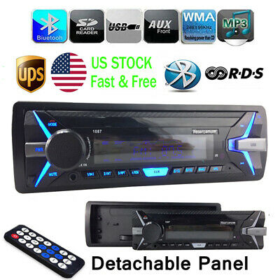 Radio MP3 Player Bluetooth Stereo Detachable Remote FM 1 Din 12V SD/USB/AUX Car