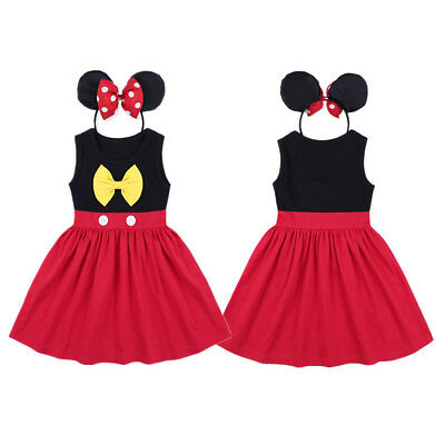 Kid Girl Baby Toddler Minnie Mouse Outfits Birthday Party Costume Dress+Headband
