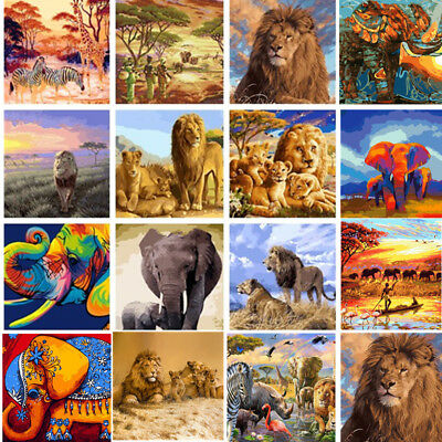DIY Paint By Number Acrylic Oil Painting On Linen Colorful Animals Lion Elephant