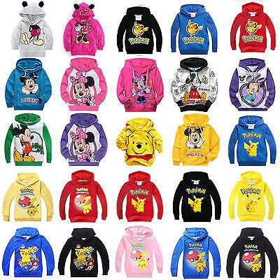 Kids Boys Girls Cartoon Hoodies Sweatshirt Coat Long Sleeve Hooded Tops Outwear